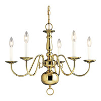 Progress Lighting Americana 5 Light Chandelier in Polished Brass P4355-10