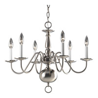 Americana 6 Light 23 inch Brushed Nickel Chandelier Ceiling Light