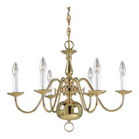 Americana 6 Light 25 inch Polished Brass Chandelier Ceiling Light
