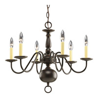 Americana 6 Light 23 inch Antique Bronze Chandelier Ceiling Light