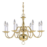 Progress Lighting Americana 8 Light Chandelier in Polished Brass P4357-10 alternative photo thumbnail
