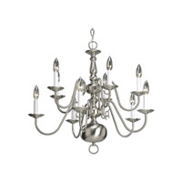 Progress Lighting Americana 10 Light Chandelier in Brushed Nickel P4358-09