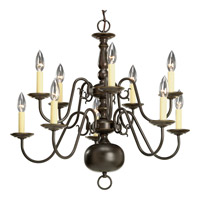 Progress P4358-20 Americana 10 Light 26 inch Antique Bronze Chandelier Ceiling Light
