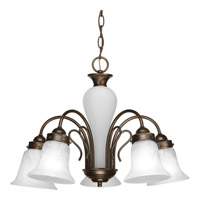 Progress P4391-20 Bedford 5 Light 23 inch Antique Bronze Chandelier Ceiling Light in Alabaster Glass