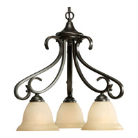 Progress P4405-77 Torino 3 Light 19 inch Forged Bronze Chandelier Ceiling Light in Tea-Stained