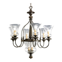 Progress P4410-77 Fiorentino 6 Light 29 inch Forged Bronze Chandelier Ceiling Light