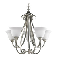 Progress P4416-09 Torino 5 Light 26 inch Brushed Nickel Chandelier Ceiling Light in Etched