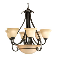 Progress P4417-77 Torino 6 Light 29 inch Forged Bronze Chandelier Ceiling Light in Tea-Stained