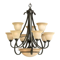 Progress P4418-77 Torino 9 Light 32 inch Forged Bronze Chandelier Ceiling Light in Tea-Stained