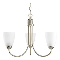 Progress P4440-09EBWB Gather 3 Light 19 inch Brushed Nickel Chandelier Ceiling Light in Bulbs Included Fluorescent