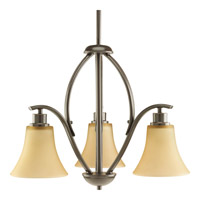 Joy 3 Light 20 inch Antique Bronze Chandelier Ceiling Light in Etched Light Umber