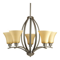 Joy 5 Light 24 inch Antique Bronze Chandelier Ceiling Light in Etched Light Umber