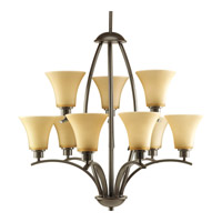 Progress P4492-20 Joy 9 Light 28 inch Antique Bronze Chandelier Ceiling Light in Etched Light Umber