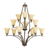 Joy 12 Light 38 inch Antique Bronze Chandelier Ceiling Light in Etched Light Umber