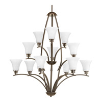 Progress Lighting Joy 12 Light Chandelier in Antique Bronze with Etched White Glass P4497-20W