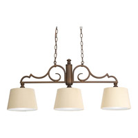Meeting Street 3 Light 37 inch Roasted Java Linear Chandelier Ceiling Light