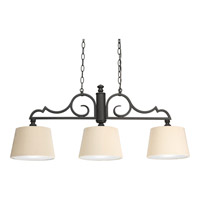 Progress Lighting Thomasville Meeting Street 3 Light Linear Chandelier in Forged Black P4530-80