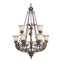 Progress Lighting Thomasville Messina 9 Light Chandelier in Aged Mahogany P4536-75