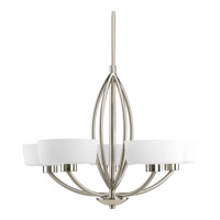 Calven 5 Light 30 inch Brushed Nickel Chandelier Ceiling Light in Etched Opal