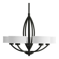 Progress P4539-80 Calven 5 Light 30 inch Forged Black Chandelier Ceiling Light in Opal Linen photo thumbnail