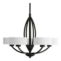 Progress P4539-80 Calven 5 Light 30 inch Forged Black Chandelier Ceiling Light in Opal Linen alternative photo thumbnail
