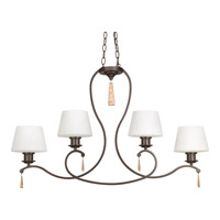 Club 4 Light 38 inch Antique Bronze Island/Linear Ceiling Light