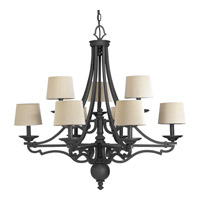 Progress Lighting Thomasville Meeting Street 9 Light Chandelier in Forged Black P4568-80