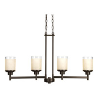 Alexa 5 Light 34 inch Antique Bronze Linear Chandelier Ceiling Light