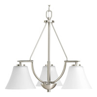 Bravo 3 Light 23 inch Brushed Nickel Chandelier Ceiling Light in Bulbs Not Included, Etched