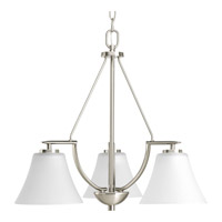 Bravo 3 Light 23 inch Brushed Nickel Chandelier Ceiling Light in Bulbs Included, Etched
