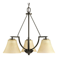 Bravo 3 Light 23 inch Antique Bronze Chandelier Ceiling Light in Bulbs Not Included, Etched Umber Linen Glass