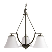 Progress Lighting Bravo 3 Light Chandelier in Antique Bronze with Etched Glass P4621-20W