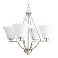 Progress P4622-09 Bravo 4 Light 24 inch Brushed Nickel Chandelier Ceiling Light in Etched