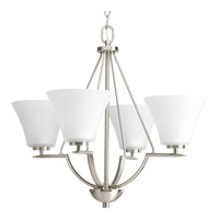 Progress P4622-09 Bravo 4 Light 24 inch Brushed Nickel Chandelier Ceiling Light in Etched alternative photo thumbnail