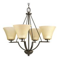 Progress P4622-20 Bravo 4 Light 24 inch Antique Bronze Chandelier Ceiling Light in Etched Umber Linen Glass