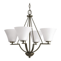 Progress Lighting Bravo 4 Light Chandelier in Antique Bronze with Etched Glass P4622-20W