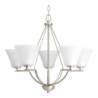 Bravo 5 Light 27 inch Brushed Nickel Chandelier Ceiling Light in Bulbs Included, Etched