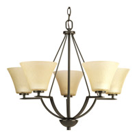 Progress P4623-20 Bravo 5 Light 27 inch Antique Bronze Chandelier Ceiling Light in Bulbs Not Included Etched Umber Linen Glass