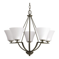 Progress Lighting Bravo 5 Light Chandelier in Antique Bronze with Etched Glass P4623-20W