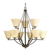 Bravo 9 Light 32 inch Antique Bronze Chandelier Ceiling Light in Etched Umber Linen Glass