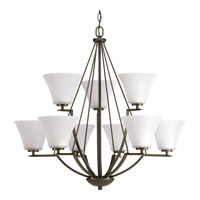 Progress P4625-20W Bravo 9 Light 32 inch Antique Bronze Chandelier Ceiling Light in Etched
