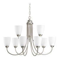 Gather 9 Light 28 inch Brushed Nickel Chandelier Ceiling Light in Bulbs Included, Fluorescent