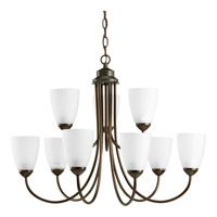 Progress P4627-20EBWB Gather 9 Light 28 inch Antique Bronze Chandelier Ceiling Light in Bulbs Included Fluorescent