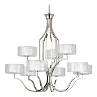 Progress P4646-104WB Caress 9 Light 37 inch Polished Nickel Chandelier Ceiling Light