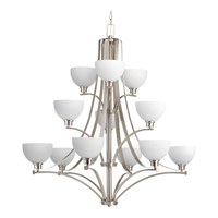Progress Lighting Legend 12 Light Chandelier in Brushed Nickel with Etched Marble Glass P4653-09