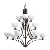 Progress Lighting Legend 12 Light Chandelier in Antique Bronze with Etched Marble Glass P4653-20