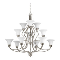 Progress Lighting Applause 12 Light Chandelier in Brushed Nickel with Tea Stained Spotted Glass P4654-09