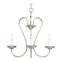 Progress Lighting Heart 3 Light Chandelier in Brushed Nickel P4665-09