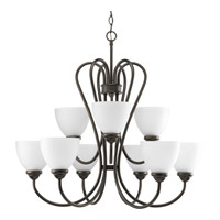 Progress Lighting Heart 9 Light Chandelier in Antique Bronze P4668-20