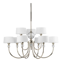 Progress Lighting Fortune 9 Light Chandelier in Polished Nickel P4675-104
